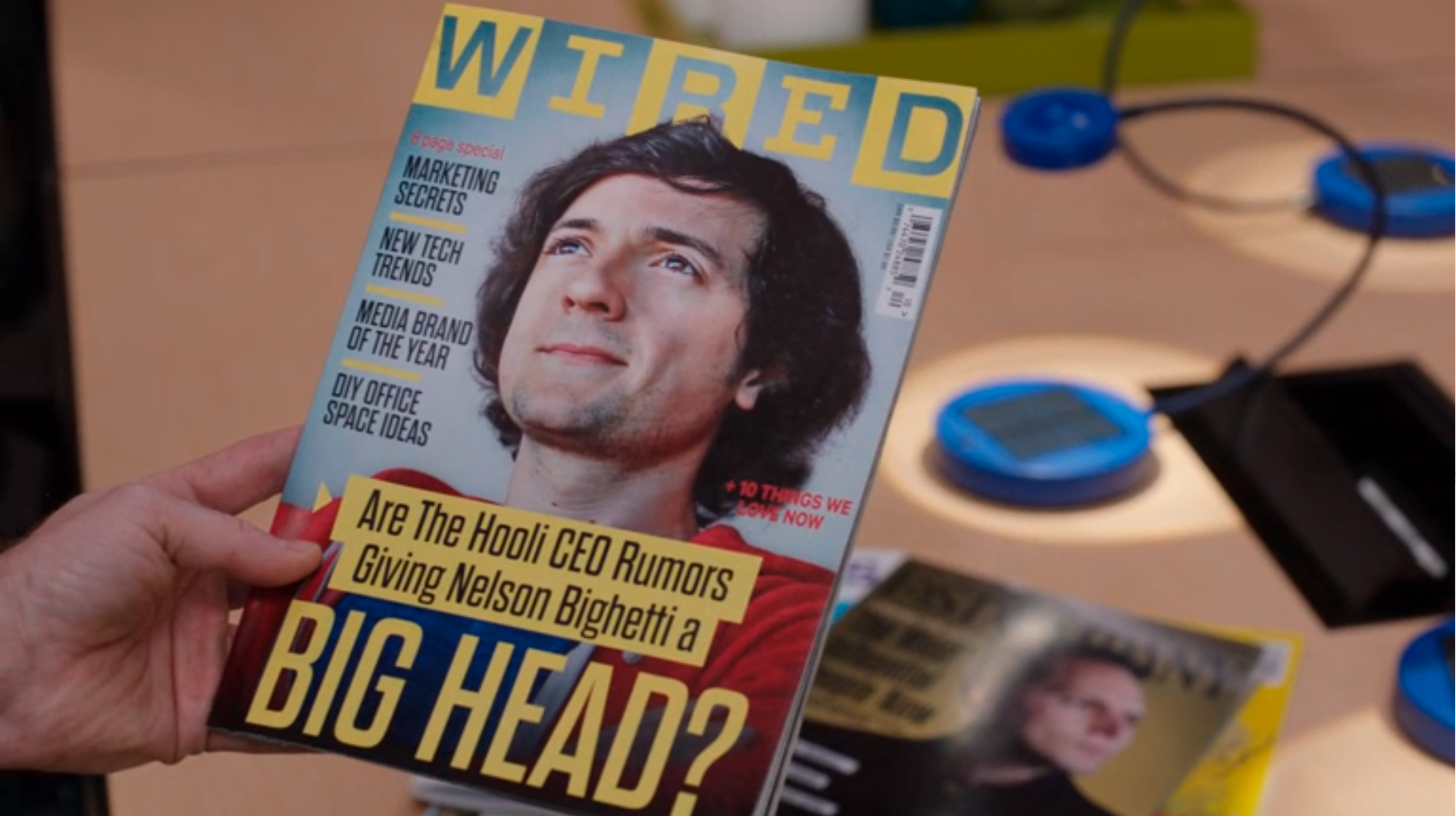 """Wired magazine featuring a fictional character """"Bighead"""" from the show Silicon Valley"""
